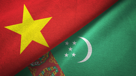 Vietnam and Turkmenistan flags together textile cloth, fabric texture