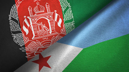 Afghanistan and Djibouti two folded flags together Imagens