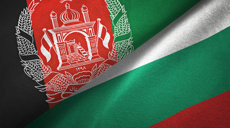 Afghanistan and Bulgaria flags together textile cloth, fabric texture Reklamní fotografie