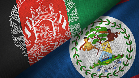 Afghanistan and Belize two folded flags together Stock Photo