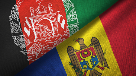 Afghanistan and Moldova flags together textile cloth, fabric texture