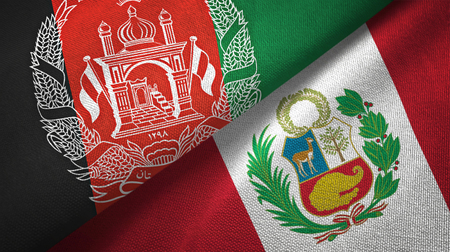 Afghanistan and Peru flags together textile cloth, fabric texture