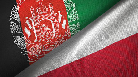 Afghanistan and Poland flags together textile cloth, fabric texture