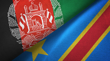 Afghanistan and Congo Democratic Republic two folded flags together