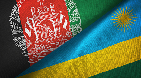 Afghanistan and Rwanda two folded flags together Imagens