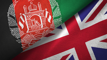 Afghanistan and United Kingdom flags together textile cloth, fabric texture