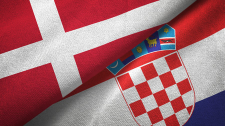 Denmark and Croatia flags together textile cloth, fabric texture