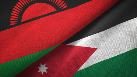 Malawi and Jordan two folded flags together