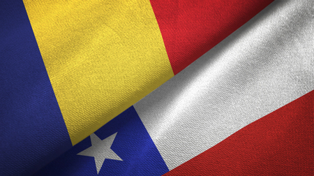 Romania and Chile flags together textile cloth, fabric texture