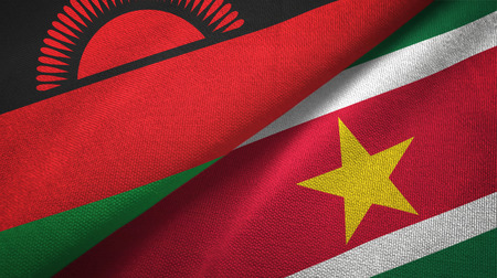 Malawi and Suriname two folded flags together
