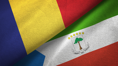 Romania and Equatorial Guinea two folded flags together