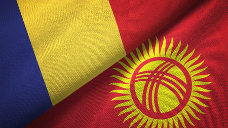 Romania and Kyrgyzstan flags together textile cloth, fabric texture