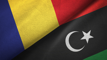 Romania and Libya flags together textile cloth, fabric texture