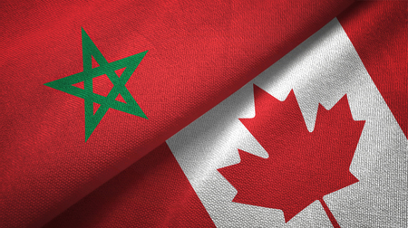 Morocco and Canada flags together textile cloth, fabric texture