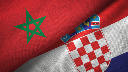 Morocco and Croatia flags together textile cloth, fabric texture