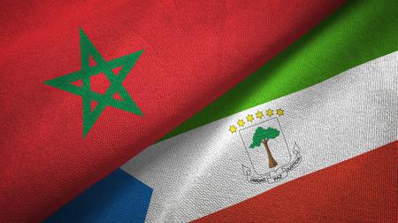 Marruecos y Guinea Ecuatorial dos banderas dobladas juntas