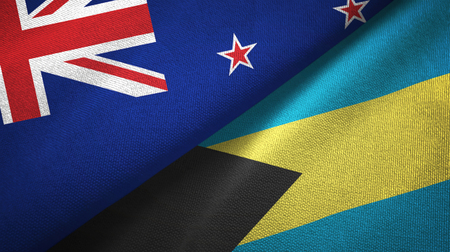 New Zealand and Bahamas two folded flags together