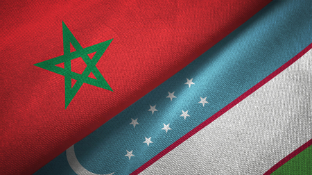 Morocco and Uzbekistan flags together textile cloth, fabric texture