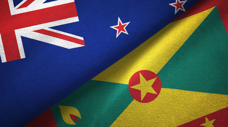 New Zealand and Grenada two folded flags together