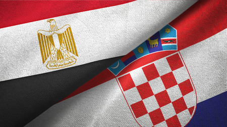 Egypt and Croatia flags together textile cloth, fabric texture