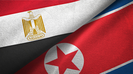 Egypt and North Korea two folded flags together