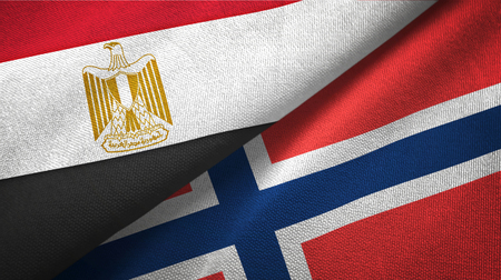 Egypt and Norway flags together textile cloth, fabric texture