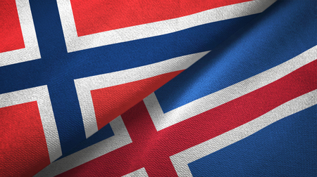 Norway and Iceland flags together textile cloth, fabric texture Archivio Fotografico