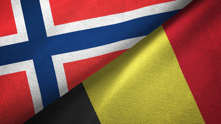 Norway and Belgium flags together textile cloth, fabric texture