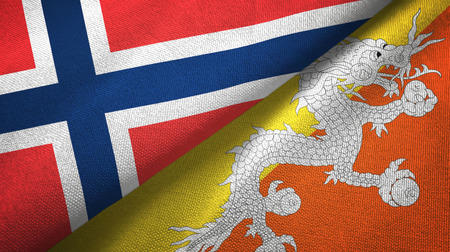 Norway and Bhutan two folded flags together