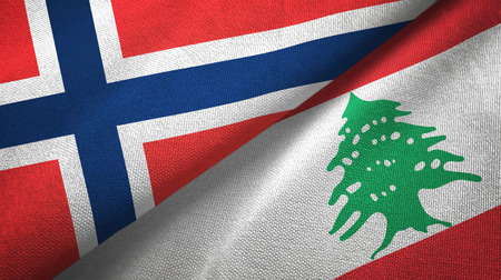 Norway and Lebanon flags together textile cloth, fabric texture Stock Photo