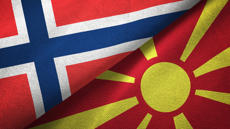 Norway and Macedonia flags together textile cloth, fabric texture Stock Photo