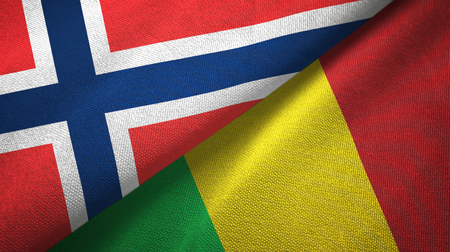 Norway and Mali two folded flags together