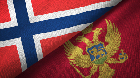 Norway and Montenegro flags together textile cloth, fabric texture