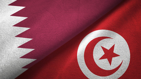 Qatar and Tunisia flags together textile cloth, fabric texture