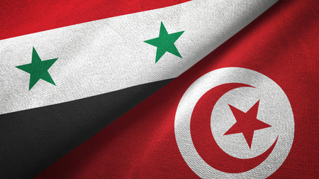 Syria and Tunisia flags together textile cloth, fabric texture