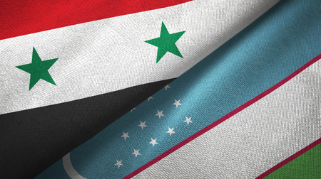 Syria and Uzbekistan flags together textile cloth, fabric texture