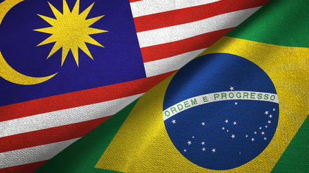 Malaysia and Brazil flags together textile cloth, fabric texture