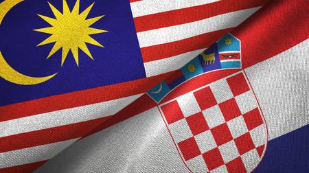 Malaysia and Croatia flags together textile cloth, fabric texture