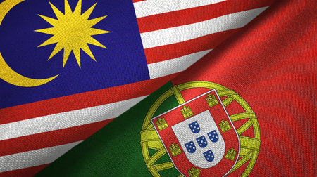 Malaysia and Portugal flags together textile cloth, fabric texture