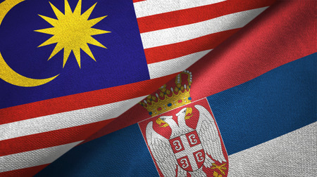 Malaysia and Serbia flags together textile cloth, fabric texture