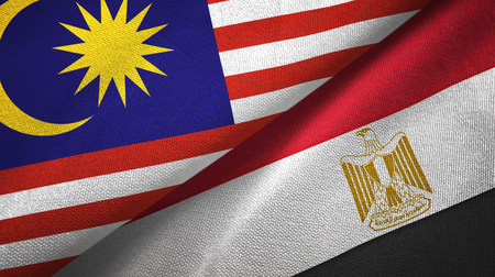 Malaysia and Egypt flags together textile cloth, fabric texture. Text on egyptian flag means - Arab Republic of Egypt