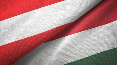 Austria and Hungary flags together textile cloth, fabric texture