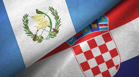 Guatemala and Croatia flags together textile cloth, fabric texture