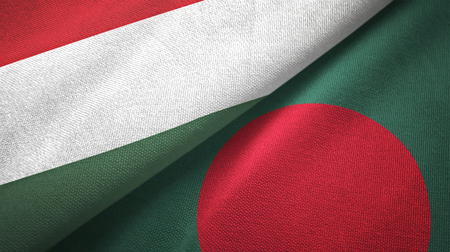 Hungary and Bangladesh flags together textile cloth, fabric texture Foto de archivo