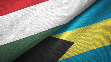 Hungary and Bahamas two folded flags together