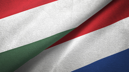 Hungary and Netherlands flags together textile cloth, fabric texture