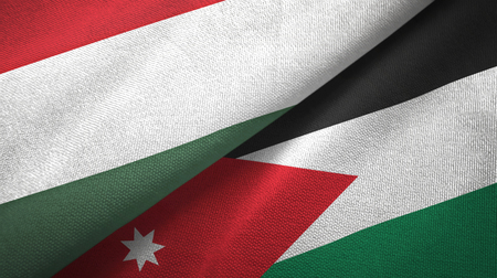 Hungary and Jordan two folded flags together