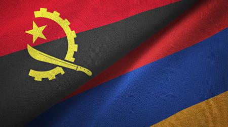 Angola and Armenia flags together textile cloth, fabric texture Stock Photo