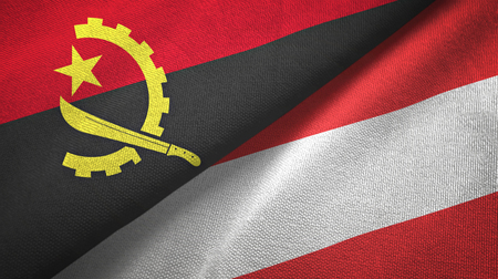 Angola and Austria flags together textile cloth, fabric texture Banque d'images - 121352325