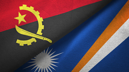 Angola and Marshall Islands two folded flags together